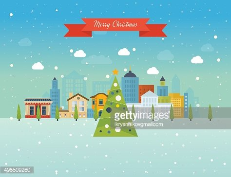 Merry Christmas greeting card design. Paris winter