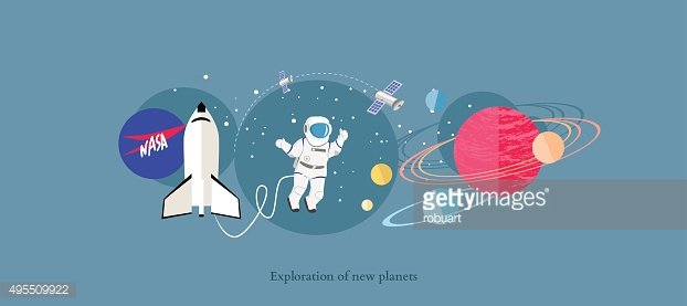 Exploration New Planets Icon Flat Isolated