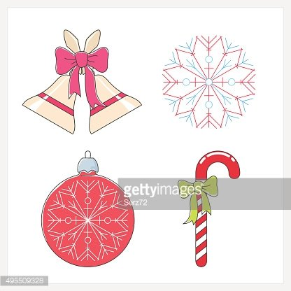 Set of Christmas Colorful Line Style Icons