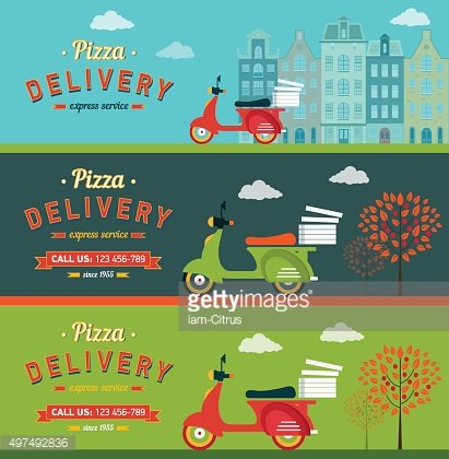 Fast food and pizza delivery banners set flat illustration