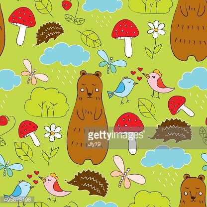 Cute seamless pattern with forest life