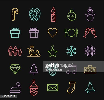 Elegant Minimal Colored Neon Christmas Icons with Color Gradient.