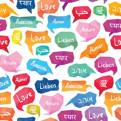 Seamless Pattern Speech Bubbles With 'love' ON Different Languages