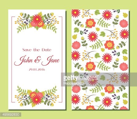 Cute vintage floral cards set.