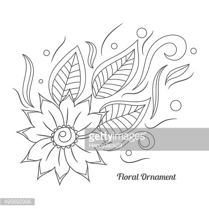 Floral ornament in Indian mehndi style.