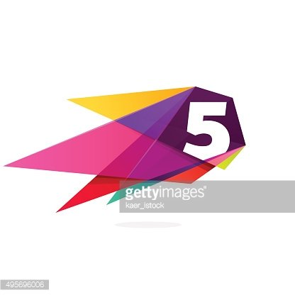 Number five with polygonal comet.