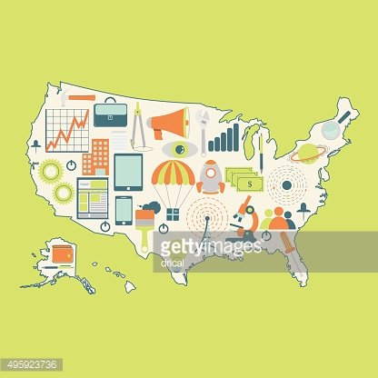 Map of USA with technology icons
