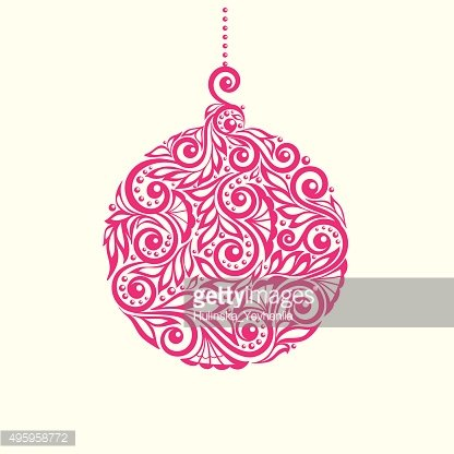 Christmas toy ball. Decorated with flower pattern with spirals and ...