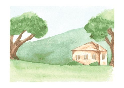 Beautiful Watercolor Landscape With Country House Clipart Image