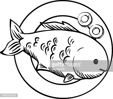 Seafood Dish With Grilled Ocean Fish Premium Clipart