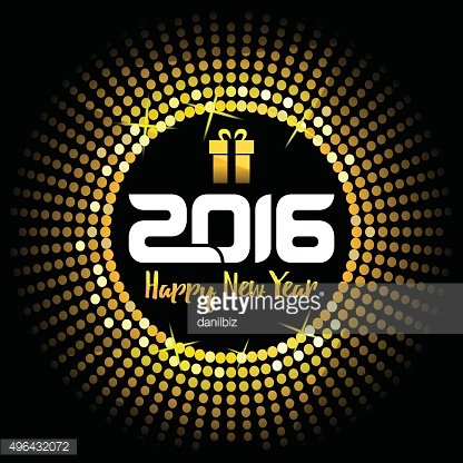 Happy New Year 2016 - gold disco lights frame
