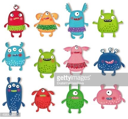 Monsters Pets Collection. Cartoon characters over white