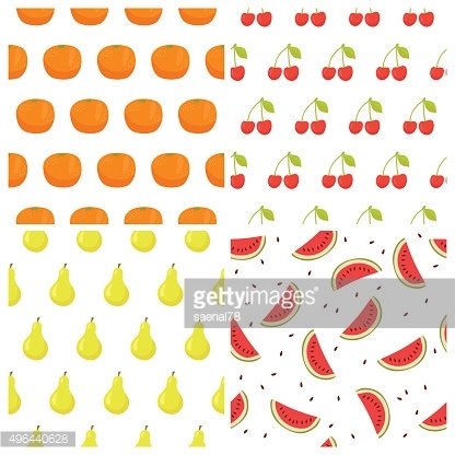 Vector seamless pattern set with fruits. Watermelon, orange, cherry