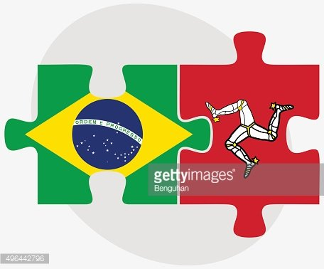 Brazil and Isle of Man Flags