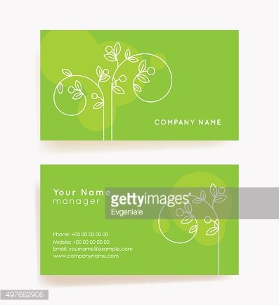 Set of horizontal abstract green business cards with plant.