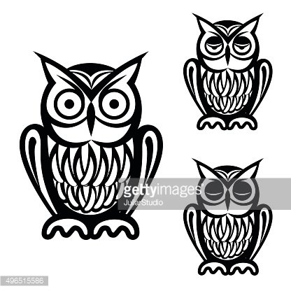 Owl simple icons set