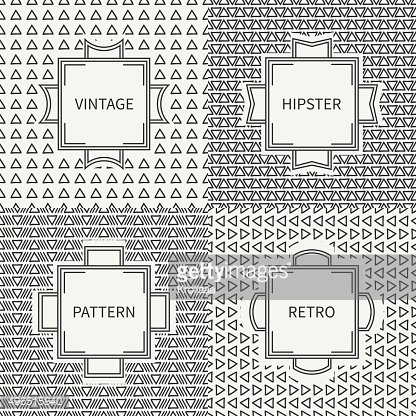 Set of hand drawn ink seamless pattern with triangle. Labels.