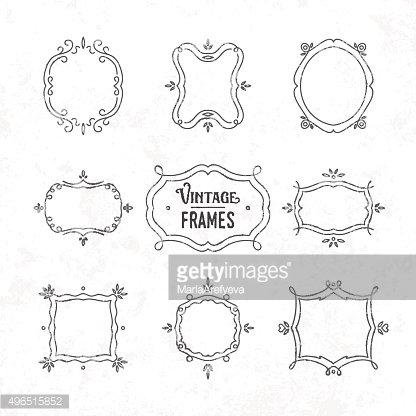 Set of 9 cute vintage frames of different orientations