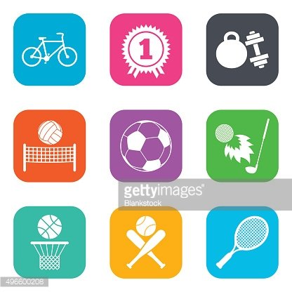 Sport games, fitness icon. Football, basketball