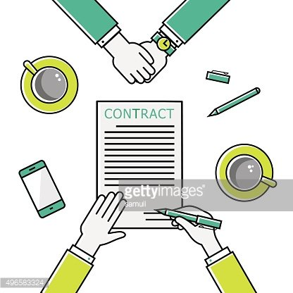 Business man hands holding contract, signing of a treaty business