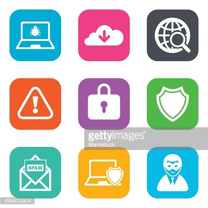 Internet privacy icons. Cyber crime signs
