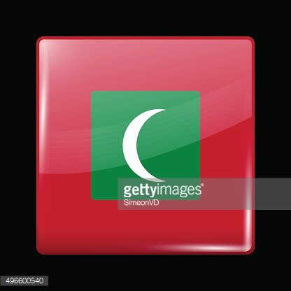 Flag of Maldives. Glassy Icon Square Shape