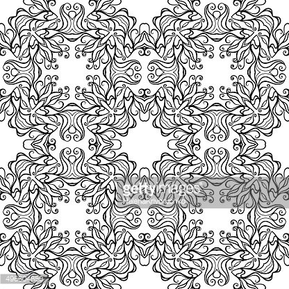 Vector Seamless Monochrome Abstract Pattern