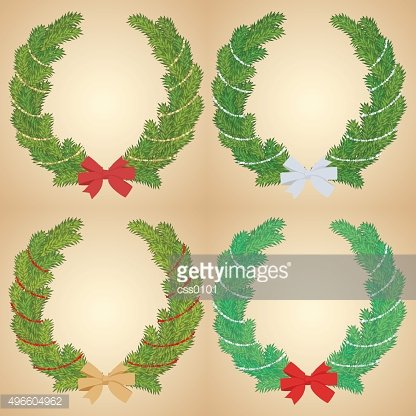 Christmas pine wreath garland decorated with glitter ribbons. Vector