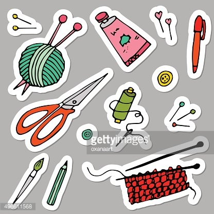 Tolls for hand made and hobby, handdrawn vector stickers
