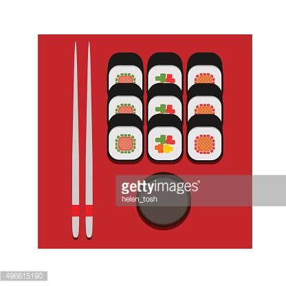 sushi set color vector flat icon