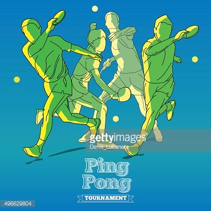 Silhouettes of Tennis Player Playing Ping Pong with Style Typographic.