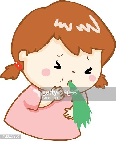 ill girl vomiting cartoon vector