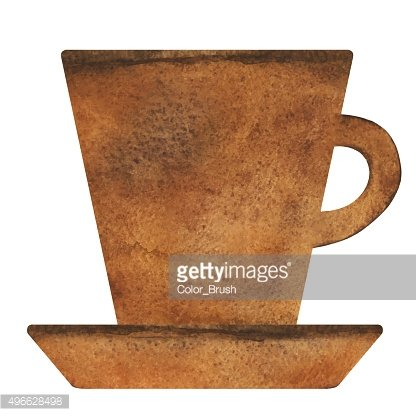 Watercolor tea, coffee cup with saucer, mug