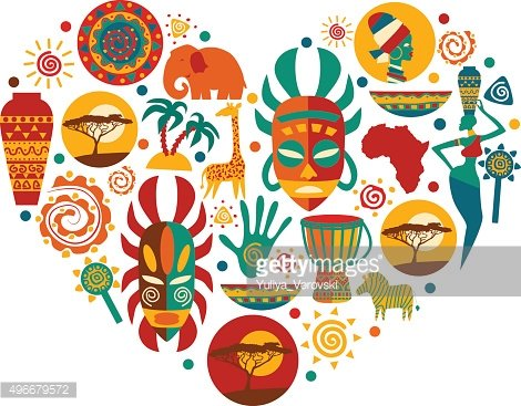 Vector set of stylized African and Safari elements