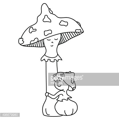 Toadstool mom and her baby in bracken hand drawn outline