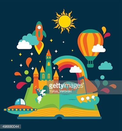 Open Book with set of vector elements