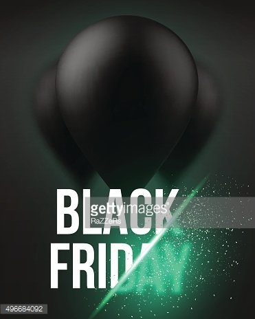 Black Friday Sale Air Balloon Poster Template with Explosion Eff