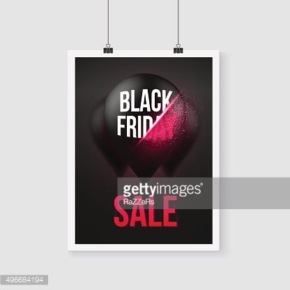 Black Friday Sale Poster Air Balloon Template with Explosion Eff