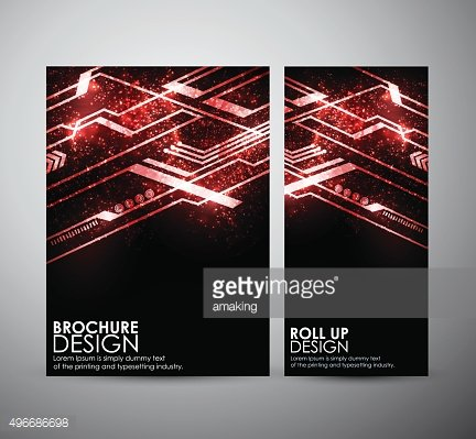 Abstract red hi-tech brochure business design template or roll up.