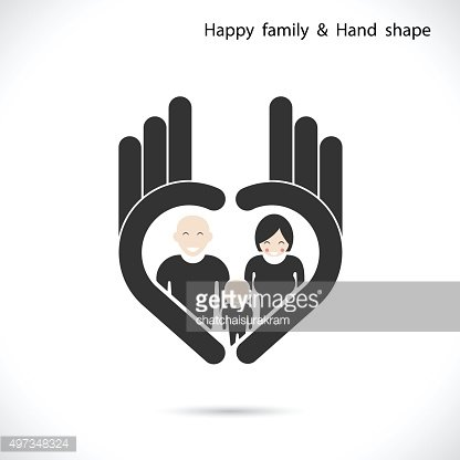 Hand icon and happy family concept.