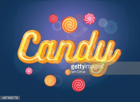 Cute candy font and sweets on the blue background