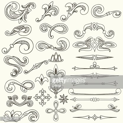 Collection of vintage hand drawn decorative elements