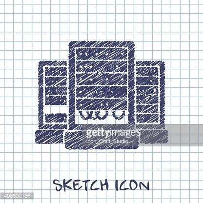 server cabinets vector sketch icon