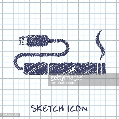 electronic cigarettes charge from pc port sketch icon