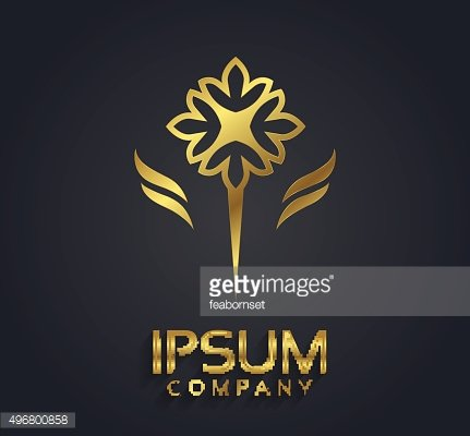 Vector graphic gold flower symbol with sample text
