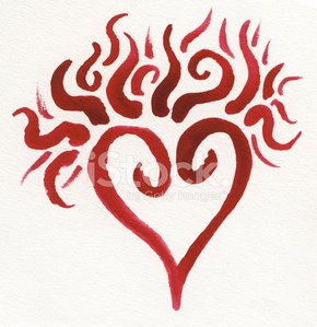 Red burning watercolor heart
