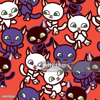 walking_cartoon_cats_on_red_background