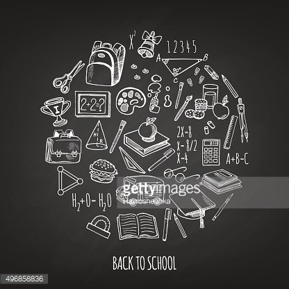 Back to school tools sketch icons in a circle vector