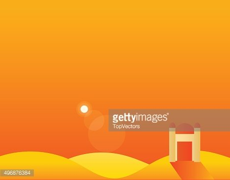 Wallpaper Landscape of Desert, Mountains and Sun, Vector Illustration