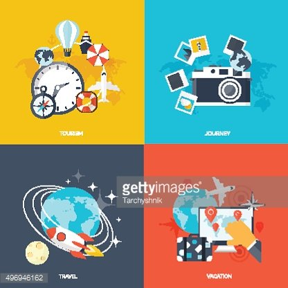 World travel concept backgrounds set. Flat icons. Tourism Holidays and